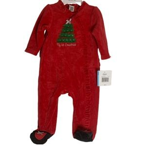 NWT Little me my first Christmas red green onesie
